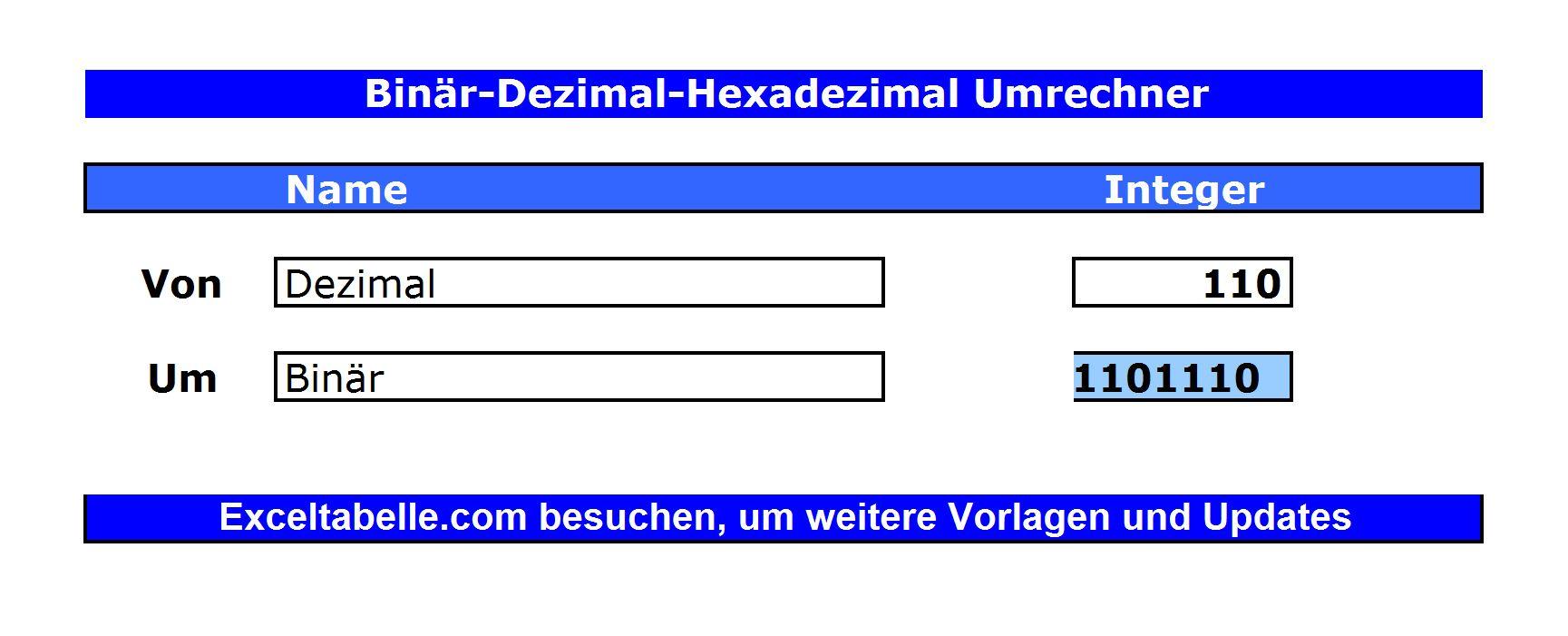 Binär-Dezimal-Hexadezimal-Umrechner