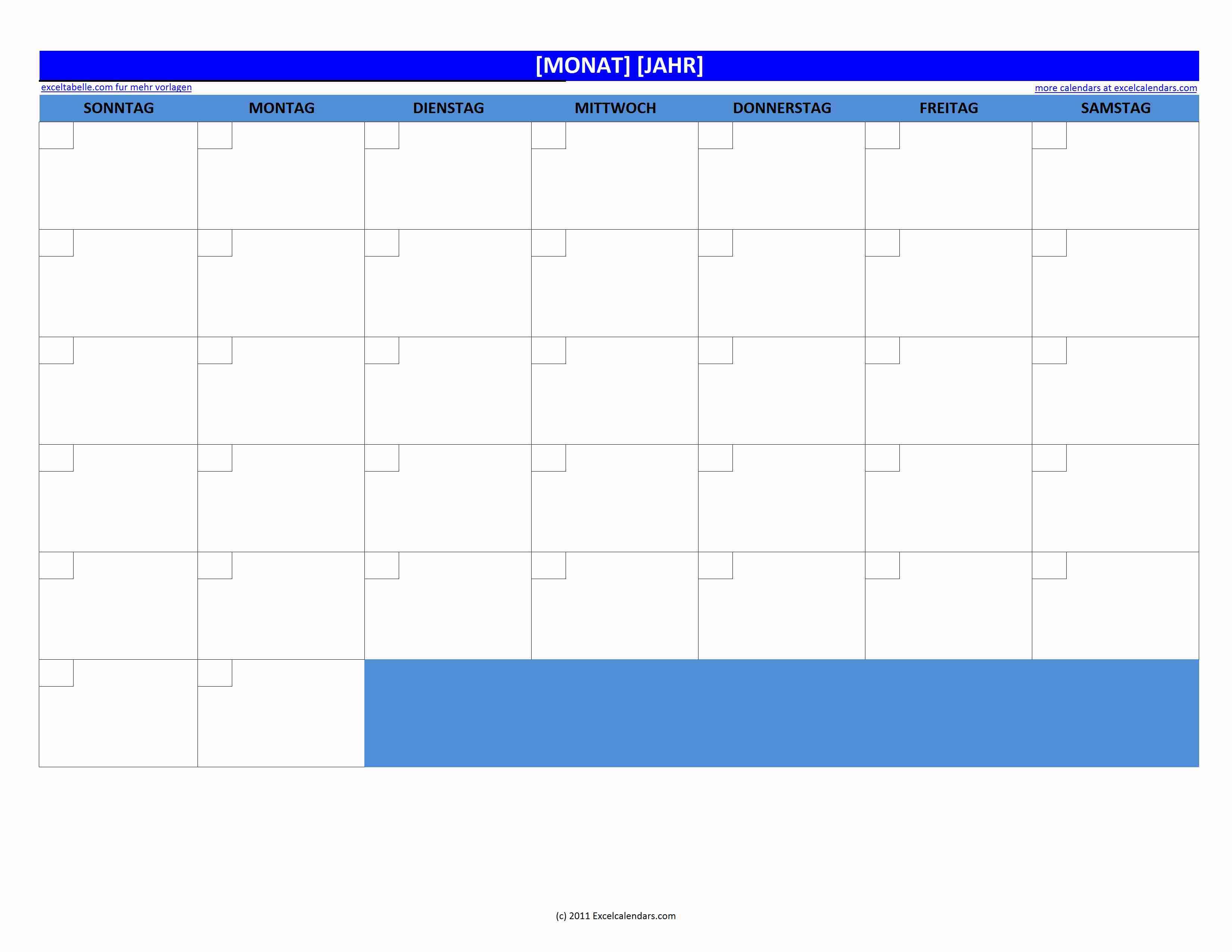Kalender-Vordruck