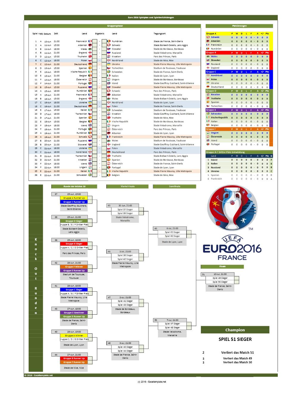 EM 2016 Spielplan und Spielberichtsbogen