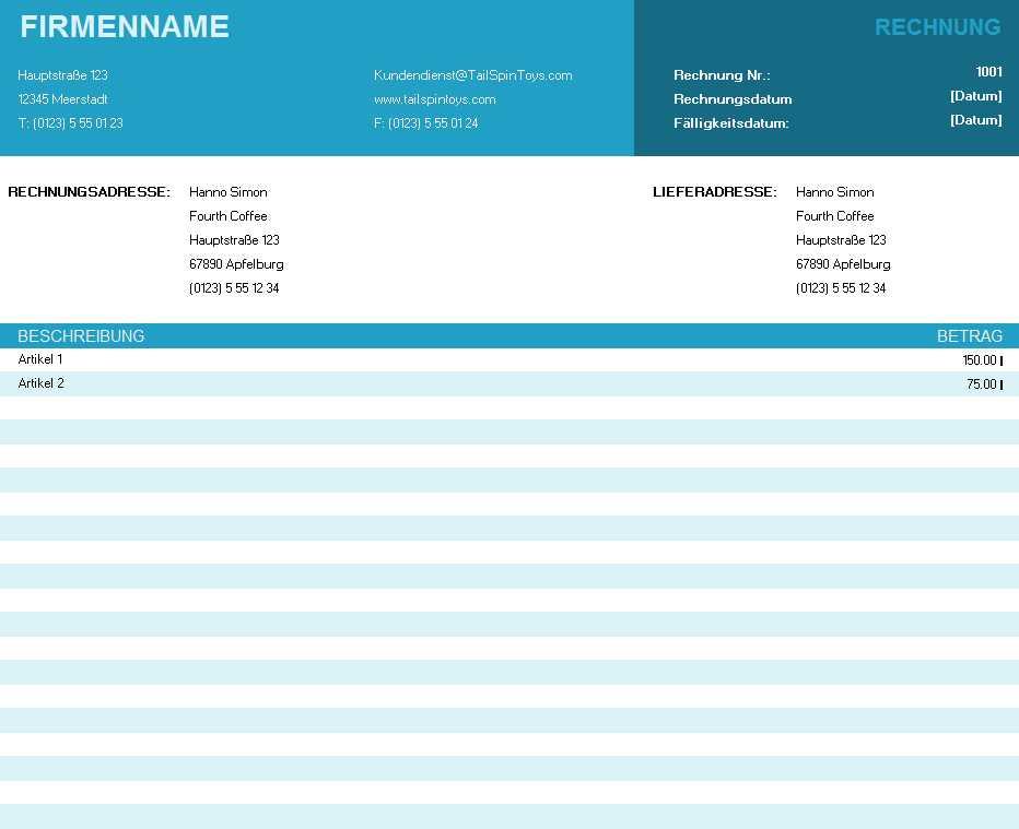 Standardrechnung Excel Vorlage