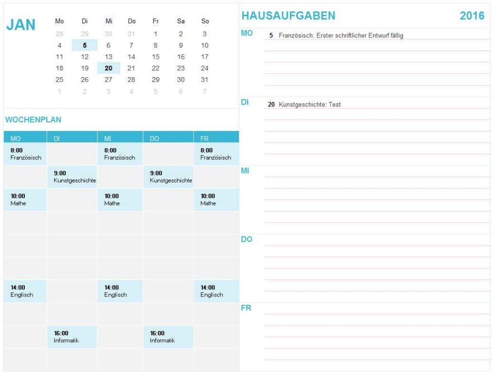 Studiumskalender Excel Vorlage