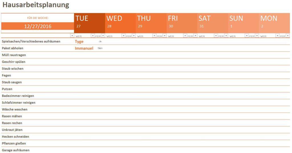 hausarbeitsplanung Excel Vorlage