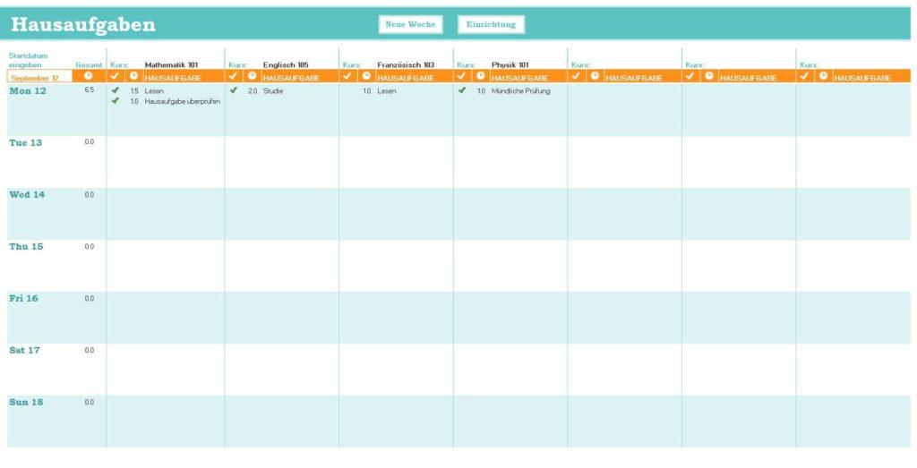Hausaufgabenplanung Excel Vorlage