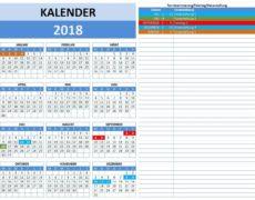 Kalender 2018 Vorlage