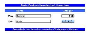 Binär-Dezimal-Hexadezimal Umrechner