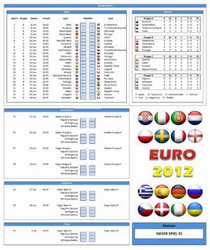 EM 2012 Spielplan und Spielberichtsbogen