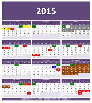 Kalendar 2015 Vorlage