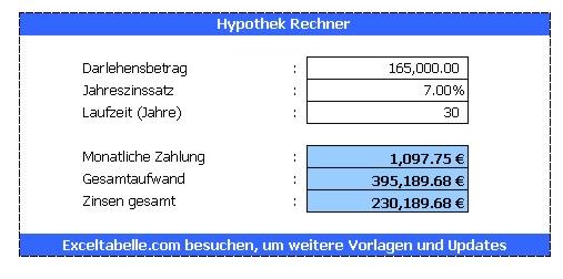 Hypothekenrechner | Excel-Tabelle