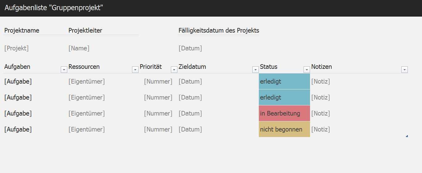 Aufgabenliste Gruppenprojekt | Excel-Tabelle