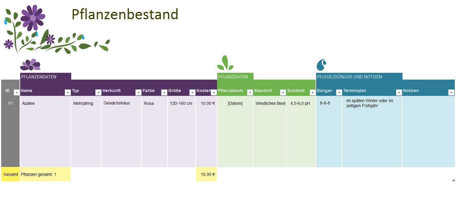 Gartenplanung | Excel-Tabelle