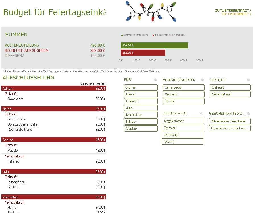 Budget für Feiertagseinkäufe | Excel-Tabelle